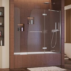 DreamLine Aqua Ultra 57-60 in. W x 58 in. H Frameless Hinged Tub Door with Extender Panel in Chr ...