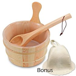 Wooden Sauna Bucket with Ladle and Sauna Hat- Handmade 4 Liter (1 Gallon) Wooden Sauna Bucket wi ...