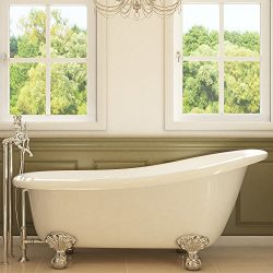 Luxury 67 inch Clawfoot Tub with Vintage Slipper Tub Design in White, includes Polished Chrome B ...