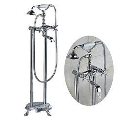 Senlesen Freestanding Floor Mounted Bathtub Swivel Spout Faucet 2 Knobs Mixer Tap with Handheld  ...