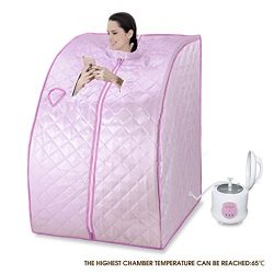 SUNCOO Portable Personal Folding Home Steam Sauna (Pink)