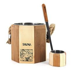 ALEKO WZ04 Wooden Bucket and Ladle for Sauna Handcrafted from Pine