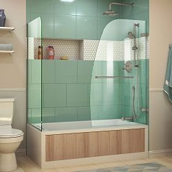 DreamLine Aqua Uno 56-60 in. W x 30 in. D x 58 in. H Frameless Hinged Tub Door with Return Panel ...