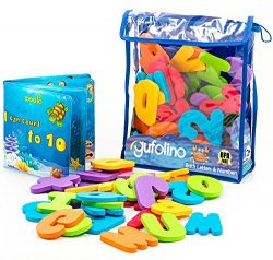 Gufolino Baby Bath Toys – 36 Foam Letters and Numbers + Bathtub Toys Organizer and Inflata ...