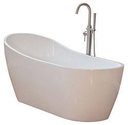 Woodbridge 67″ Acrylic Freestanding Bathtub Contemporary Soaking Tub B-0001 with Brushed N ...