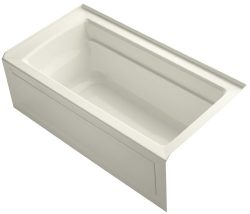 KOHLER K-1123-RA-96 Archer 5-Foot Bath with Comfort Depth Design, Integral Apron and Right-Hand  ...