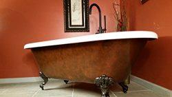 "70″ Faux Copper Acrylic Double Ended Clawfoot Bathtub Deck Mount Faucet Holes- ""Copp ..."