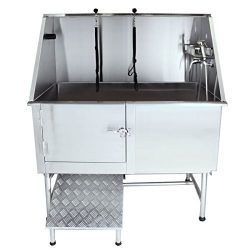 Flying Pig Grooming 50″ Stainless Steel Pet Dog Bath Tub with Faucet (Left door/Right Drai ...