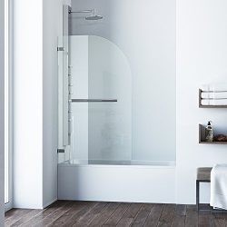 VIGO Orion 34-in. Curved Bathtub Door with .3125-in. Clear Glass and Chrome Hardware