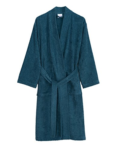 TowelSelections Men's Robe, Turkish Cotton Terry Kimono Bathrobe Large/X-Large Bluesteel