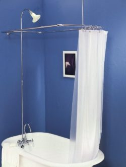 Add on Shower for Clawfoot Tub with Riser & Diverter Faucet with Shower Curtain and Rings