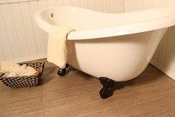 """60"""" French Slipper Freestanding Clawfoot Tub – Decorative Vintage Bathtub Claw Feet in your choi ..."""