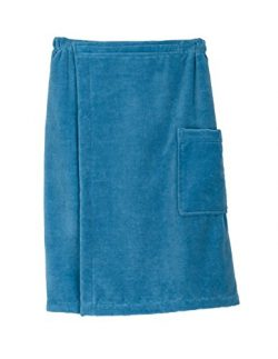 TowelSelections Men's Wrap, Shower & Bath, Terry Velour Towel Small/Medium Niagara Blue