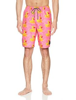NEFF Men's Daily Hot Tub Board Shorts for Swimming, Pink Wash Ducky, L