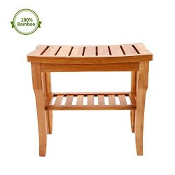 Rapesee Bamboo Bathroom Shower Bench, Spa Bath Stool Bath Seat with 2-Tier Storage Shelf for Hom ...