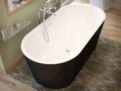 Atlantis Whirlpools 3263vy Valley Oval Soaking Bathtub 32 X 63 Ctr Drain Wh Inside Black Outside