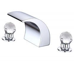 Greenspring Waterfall Widespread Crystal Handles Bathtub Faucet Spa Spout Tub Sink Tap,Chrome Fi ...