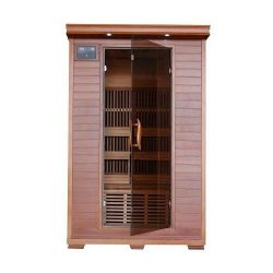 Yukon 2 Person Cedar Infrared Heatwave Sauna with 6 Carbon Heaters E-Z Touch Control Panel Oxyge ...