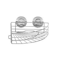 Everloc 79016 Push N' LOC Suction Cup Shower Corner Basket, Chrome