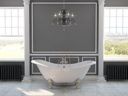 71″ Cast Iron Double Ended Slipper Tub with 7″ Faucet hole Drillings & Brushed N ...
