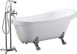 Kardiel HB-BT-DELOS-67 Delos Acrylic Clawfoot Soaking Bathtub, 67″, White
