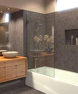 Ark Showers Frameless Bathtub Shower Screen, Pivot Door, 60 X 30, 5/16 (8mm) Glass With Round To ...