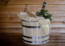 Wooden Tub for Sauna Broom Steaming, Oak Water Tub, Heavy Wooden Bucket for Sauna Shower and Spa ...
