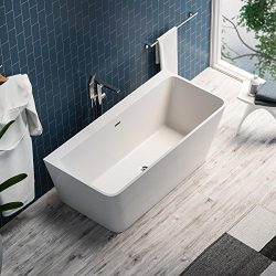 MAYKKE Pompano 59″ Modern Rectangle Acrylic Bathtub | Freestanding White Tub in Bathroom,  ...