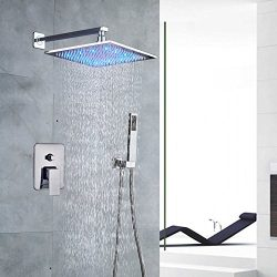 Votamuta Rain Shower Systems Wall Mounted Shower Combo Set with High Pressure 12 Inch LED Square ...