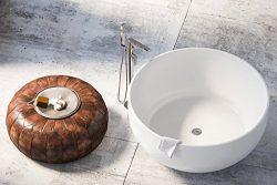 MAYKKE Vale 53″ Modern Round Acrylic Freestanding Bathtub | Circular Spacious White Soakin ...