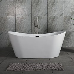 WOODBRIDGE B-0010 67″ Acrylic Freestanding Bathtub Tub with Brushed Nickel Overflow and Dr ...