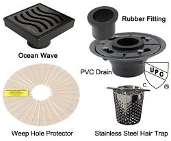 Royal Drains By Serene Steam Ocean Wave KIT with Stainless Steel Hair Trap ABS or PVC Drain and  ...