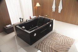 2 Two Person Indoor Whirlpool Massage Hydrotherapy Black Bathtub Tub with BLUETOOTH UPGRADE, FRE ...
