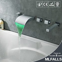 Bathroomacccesories Faucet Shower tap F6Waterfall bathtub faucet _ copper wall-mounted led water ...