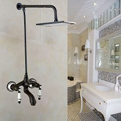 Rozin Wall Mounted Bathtub Faucet with Exposed 8″ Square Rainfall Shower Head Oil Rubbed B ...