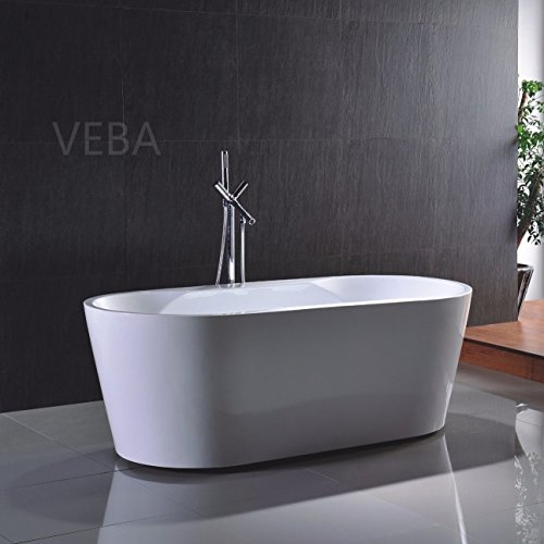 veba 55 inch freestanding tub small free standing acrylic bathtub with overflow drain and hose. Black Bedroom Furniture Sets. Home Design Ideas