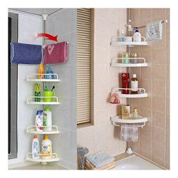 4-Tier Bathroom Caddy Shelf Corner Shower Organizer Rack Storage Towel Hanger