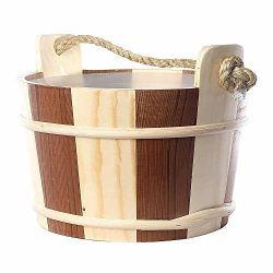 RGX Sauna Accessory 4L Pine and Red Cedar Wooden Bucket Pail Ladle With Linner Combined Set Hand ...