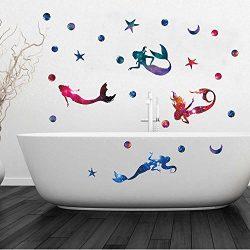 Mermaid Wall Decal Dream Starry Wall Sticker Nursery Bedroom Decal Bathroom and Bathtub Decorati ...
