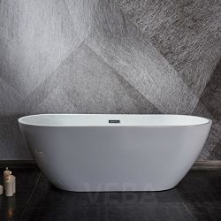 VEBA 55 inch Freestanding Tub,Small Free Standing Acrylic Bathtub with Overflow,Drain and Hose f ...