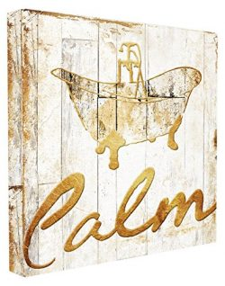 Stupell Home Décor Calm Bath Tub Gold Planked Look Stretched Canvas Wall Art, 17 x 1.5 x 17, Pro ...