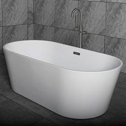 WOODBRIDGE 67″ Acrylic Freestanding Bathtub Contemporary Soaking Tub with Brushed Nickel O ...