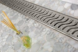 Royal Linear Shower Drain Stainless Steel Ocean Wave By Serene Steam 23 1/2