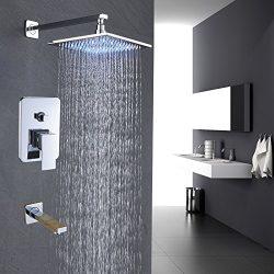 Rozin Wall Mounted Bathtub Shower Faucet Set LED Light 10-inch Rainfall Showerhead with Tub Spou ...