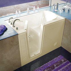 Spa World Venzi Vz3054lbs Rectangular Soaking Walk-In Bathtub, 30×54, Left Drain, Biscuit