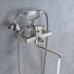 Rozin Wall Mounted Bathtub Faucet Extended Spout Mixer Tap with Handheld Shower Brushed Nickel