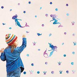 Mermaid Wall Decal Fairytale Ocean World Decorations Girls Nursery Decal Bathroom Wall Sticker B ...