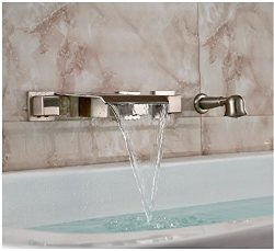 Gowe Brushed Nickel Wall Mount Bathtub Faucet Waterfall Mixer Tap with Hand Shower