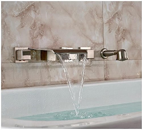Spa Faucet Pedicure Spa Mixing Valve Bathtub Faucet Mixer: Gowe Brushed Nickel Wall Mount Bathtub Faucet Waterfall