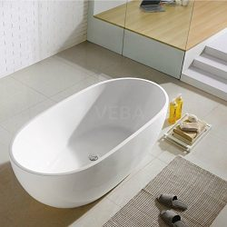 VEBA 59 inch Freestanding Bathtub,Small Free Standing Tub with Overflow,Center Drain and Hose fo ...